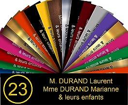 Zelfklevende pvc-brievenbusplaat, met cijfers, personaliseerbaar, 10 x 2,5 cm, verkrijgbaar in 21 kleuren (zwart met goudk...