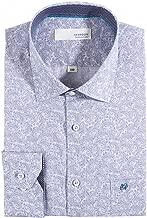 HERRBON] Men's Regular Fit Long-Sleeve Paisley Light Blue Dress Shirts
