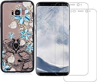 comprar comparacion YKTO Cristal Templado + Funda para Samsung Galaxy S8 5.8 Pulgadas Fina 3D Moda Dibujos Antigolpes Caso 2 Piezas HD Trans...