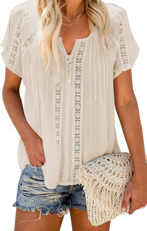TIKSAWON Women's V Neck Short Sleeve Lace Crochet Eyelet Tops Summer Casual Flowy Boho Blouses Shirts