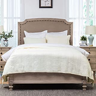 Elegant Life Zen Collection 2 Layers Cotton Crinkle Gauze Stripe Embroidery Bedding Quilt Oversized King 106'' x 92'', Cream
