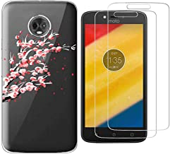 Motorola Moto E5 Play Case with 2 Pack Glass Screen Protector Phone Case for Men Women Girls Clear Soft TPU with Protective Bumper Cover Case for Moto E5 Play Moto E5 Cruise -Plum Blossom
