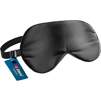 Natural Silk Sleep Mask, Super-Smooth & Soft Eye Mask with Adjustable Strap, Blindfold, Perfect Blocks Light, Pressure Free for A Full Night's Sleep (Black)