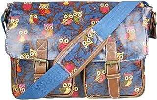 Miss Lulu Damen-Schultertasche, Messenger Bag mit Blumen und Punkten, mit Schulterriemen, wasserdichter Stoff