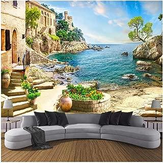 Yxjj1 Custom 3D Photo Wallpaper Castle Garden Sea View Wall Painting Living Room Sofa Bedroom Wall Decoration Mural-400cm(W) x 250cm(H) (13'1