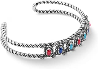 American West Sterling Silver Blue Lapis, Red Coral and Turquoise Gemstone Mini Rope Cuff Size Large