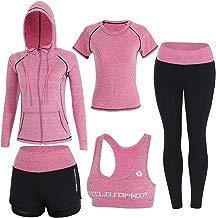 Sokaly 5 Piezas Conjuntos Deportivos para Mujer Chándales Ropa de Correr Yoga Fitness Tenis Suave Transpirable Cómodo