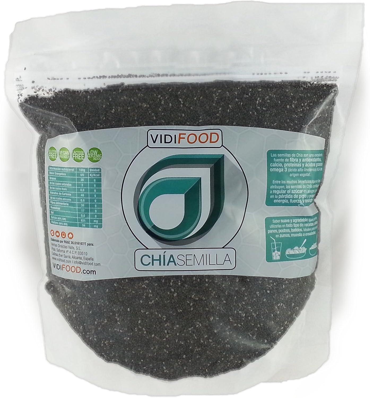 Semillas de Chía Naturales - 1 kg - Fuente Rica de Omega-3, Fibra y Proteínas - Completamente Natural, Sin Toxinas - Adecuado para Veganos