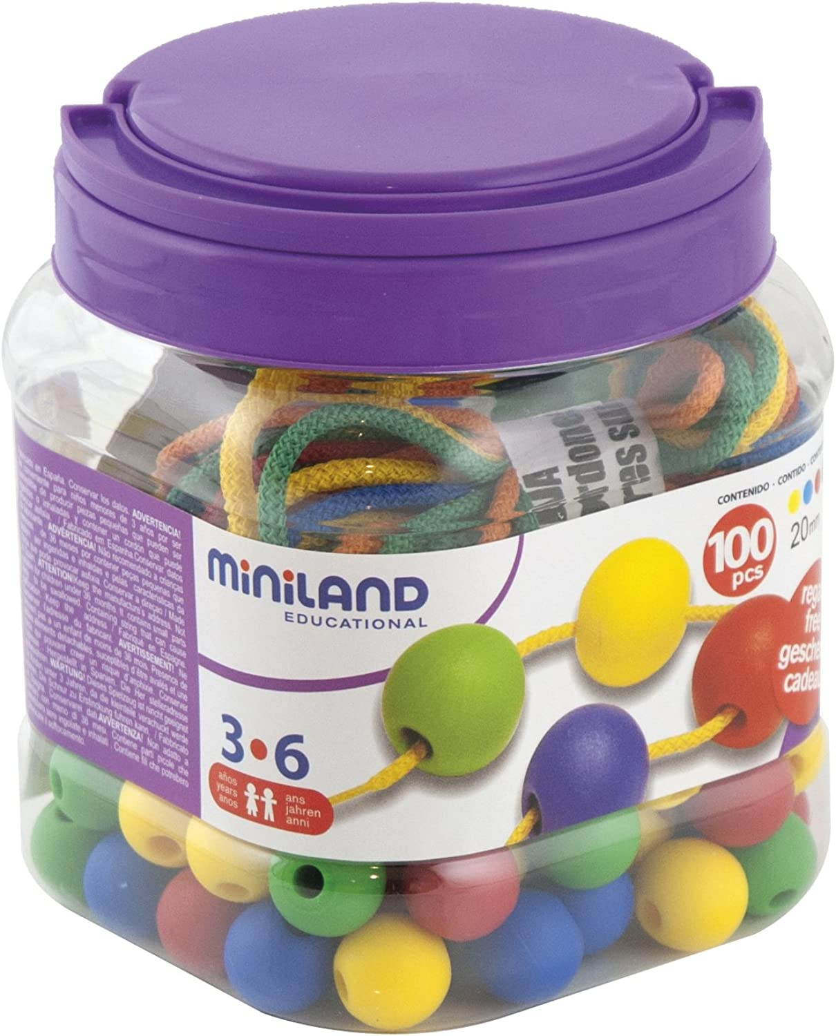 Miniland Lacing Balls (100 Pieces and 10 Laces)
