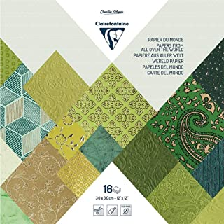 Clairefontaine 95225C - Un bloc de 16 feuilles de papiers du monde 30x30 cm, Vert