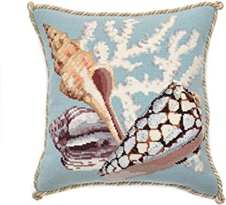 Staghorn Needlepoint Tapestry Kit with Duck Egg Blue background from Elizabeth Bradley premium English needlework pillow or rug project with 100% wool yarns. The Shells Collection.