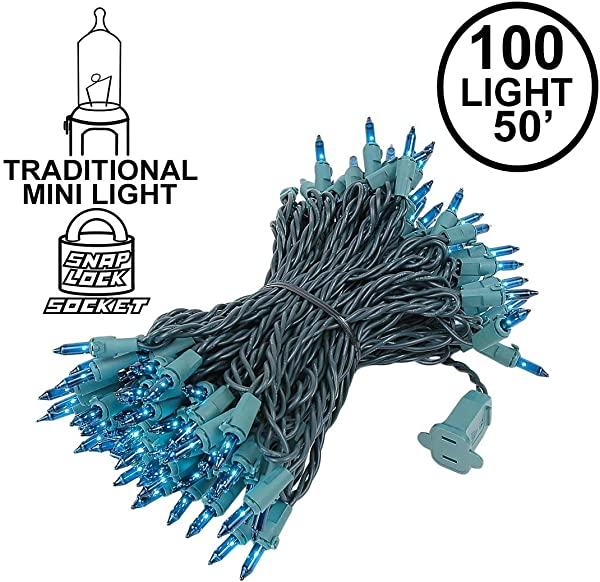 Novelty Lights 100 Light Teal Christmas Mini String Light Set Green Wire Indoor Outdoor UL Listed 50 Long