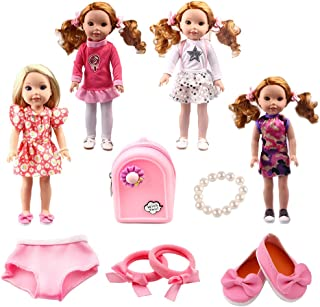 TSQSZ 4 Pcs Doll Clothes 1Backpack 1Bracelet 1Hair Accessories 1Underwear 1Shoes for 14