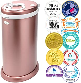 Ubbi Stainless Steel Odor Locking, No Special Bag Required Money Saving, Awards-Winning,Modern Design Registry Must-Have Diaper Pail, Rose Gold