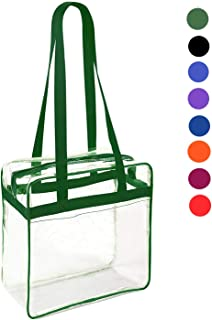 Clear 12 x 12 x 6 Stadium Tote Bag with Side Pocket and 35