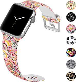 KOLEK Floral Bands Compatible with iWatch 4/3/2/1, Durable Fadeless Pattern Printed TPU Replacement Strap for iWatch 38mm 42mm 40mm 44mm, Multi Patterns Available, S/M M/L