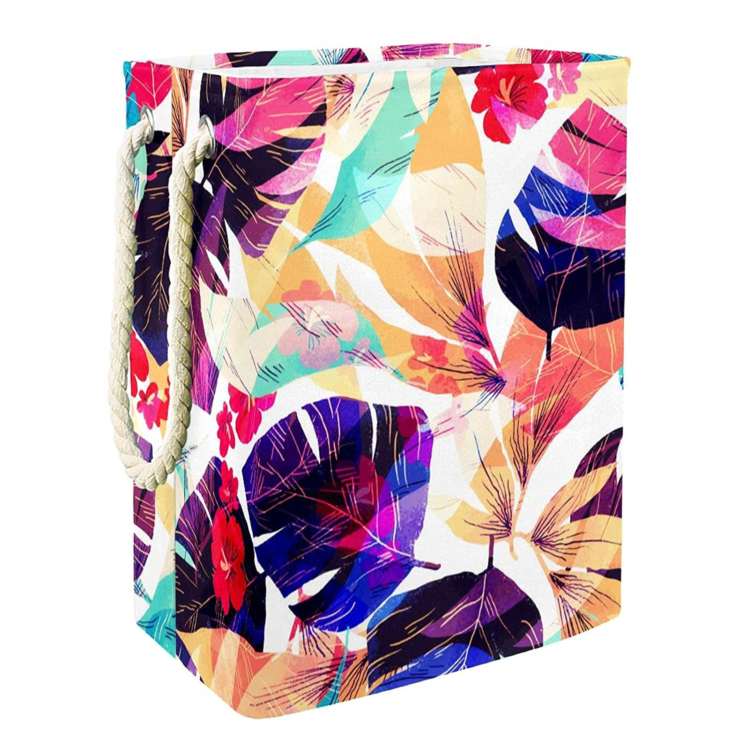 Laundry Hamper Tropical Purple Low price Collapsible Leaf Baskets Max 41% OFF