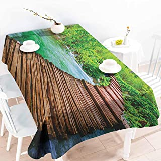 EwaskyOnline Small Rectangular Tablecloth,Landscape Nostalgic Hand Made Oak Pathway Over The Creek Water Heads into South Europe,Fashions Rectangular,W60X102L, Green Brown