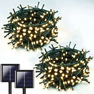Extra-Long 2-Pack Each 72ft 200 LED Solar String Lights Outdoor (Upgraded Ultra-Bright), Waterproof Green Wire Solar Light...