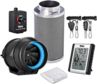iPower GLFANXEXPSET6CHUMD 6 Inch 350 CFM Inline Carbon Filter with Fan Speed Controller and Temperature Humidity Monitor Grow Tent Ventilation, Kits, Black