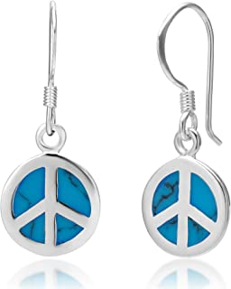 925 Sterling Silver Blue Turquoise Stone Peace Sign Round Dangle Hook Earrings