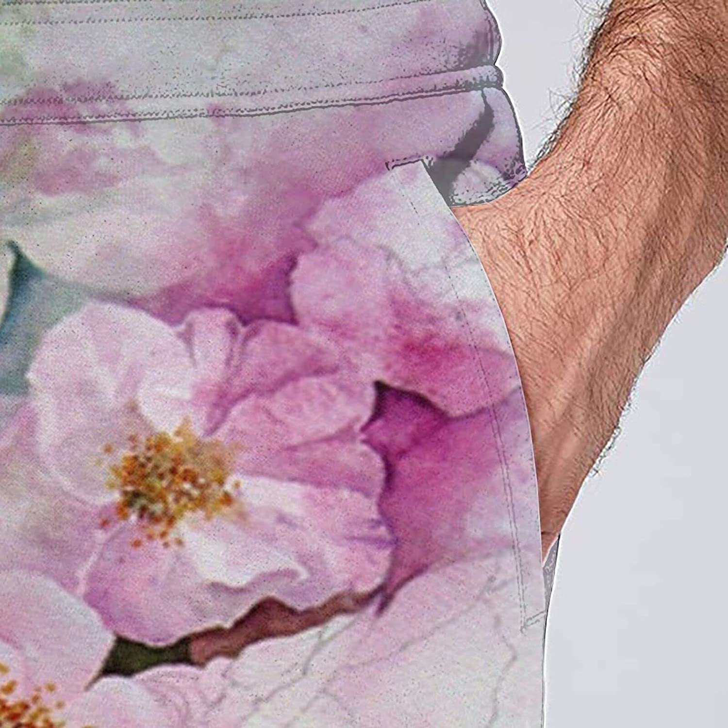 Mens Jogger Sweatpants Pink Watercolor Flower Peony Lightweight Workout Athletic Joggers Pants Trousers