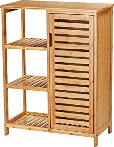 VIAGDO Bamboo Storage Cabinet, Bathroom Floor Cabinet, Cupboard with Louvered Doors, 3 Open Shelves, Multipurpose Storage Cabinet for Bathroom, Kitchen, Living Room, Bedroom