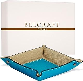 Belcraft Luni Svuotatasche in Pelle, Realizzato a Mano da Artigiani Toscani, Porta Oggetti, Acqua (19x19 cm)