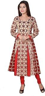 METRO-FASHION Women's Floral Printed Anarkali Cotton Kurta. (X-Large, Red)