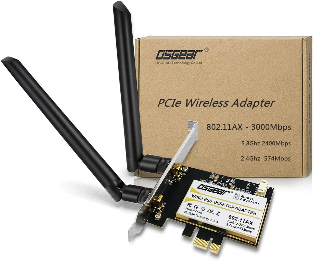 OSGEAR PCie WiFi 6 Wireless Card Sales of SALE items from new Max 84% OFF works Network Adapter 3000Mbps AX200N