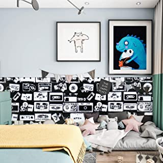 Wallpaper White Black Contact Paper Peel and Stick Wallpaper Removable Wall Paper Kids Boys Children Wall Covering Self Adhesive Wallpaper Decorative Shelf Drawer Liner Vinyl Decal Roll 17.7''x78.7''