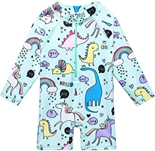 Baby Girls Swimsuit One Piece Long Sleeve Rash Guard Shirts Quick-Dry Bathing Suit