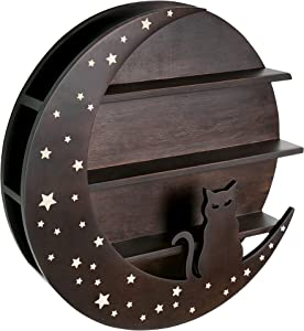 """Hop Skip Cat Moon Shelf - 15.75"""" x 2.76"""" Durable Pine Plywood Cat Wall Shelf for Crystals and Essential Oils - Beautiful and Delicate Engraved Star Design - Cat-Shaped Hippie Room Decor"""
