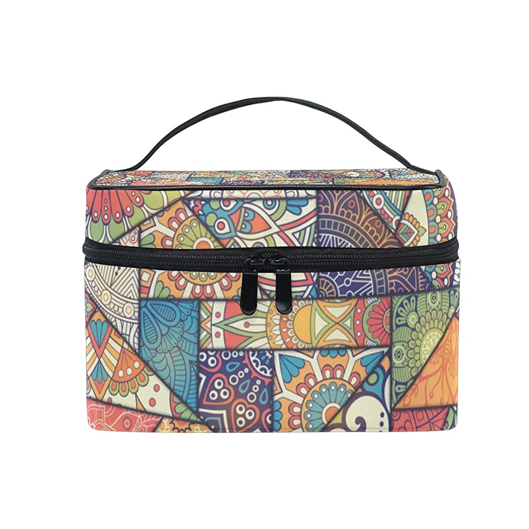 Cooper girl Vintage Geometry Patchwork Cosmetic Bag Travel Makeup Train Cases Storage Organizer
