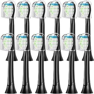 XiAnYuErJia対応 電動歯ブラシ 替えブラシ ダイヤモンドクリーンブラシヘッド ブラック レギュラーサイズ (12ピース)