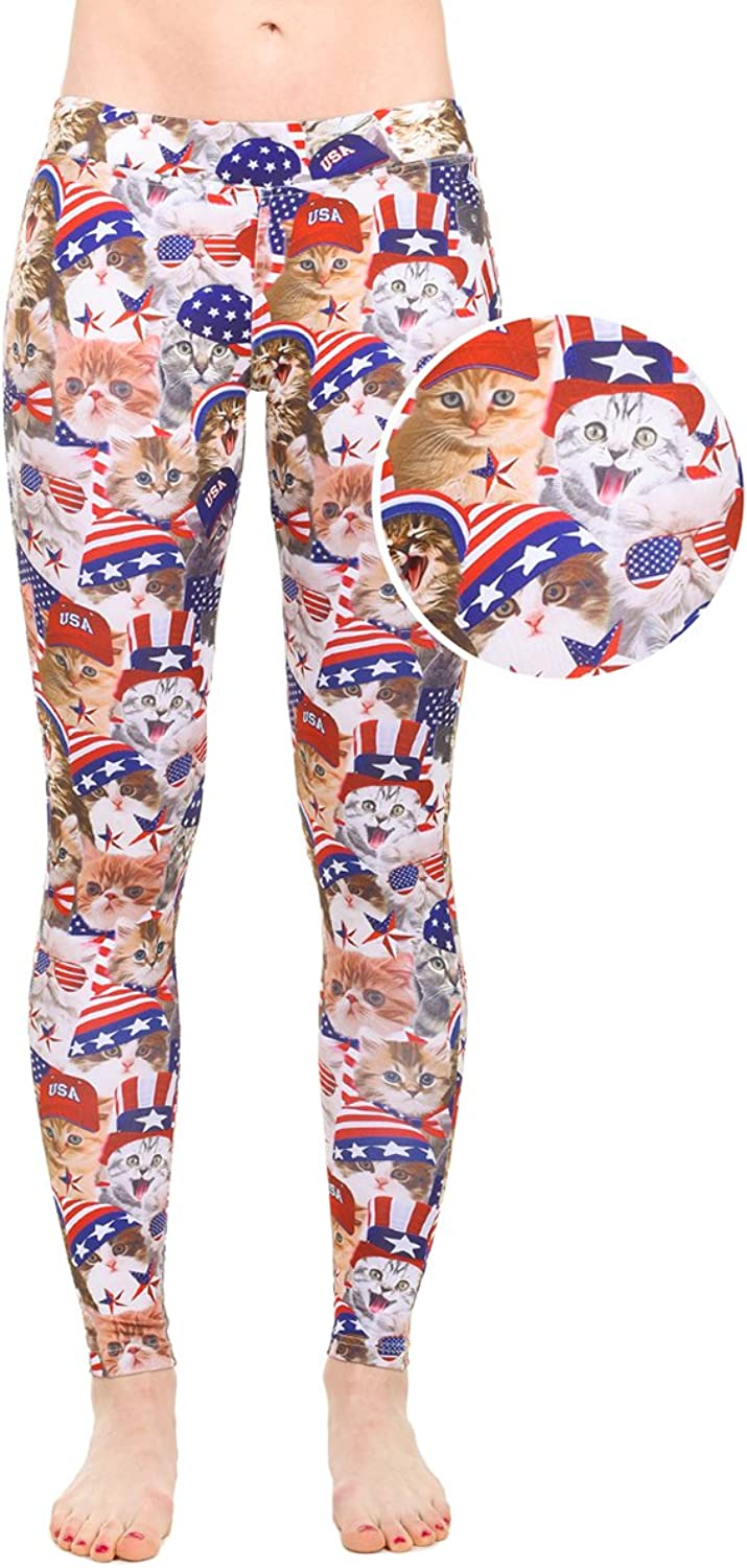 Tipsy Elves Women's American Flag Red White and bluee Leggings  Patriotic USA Tights