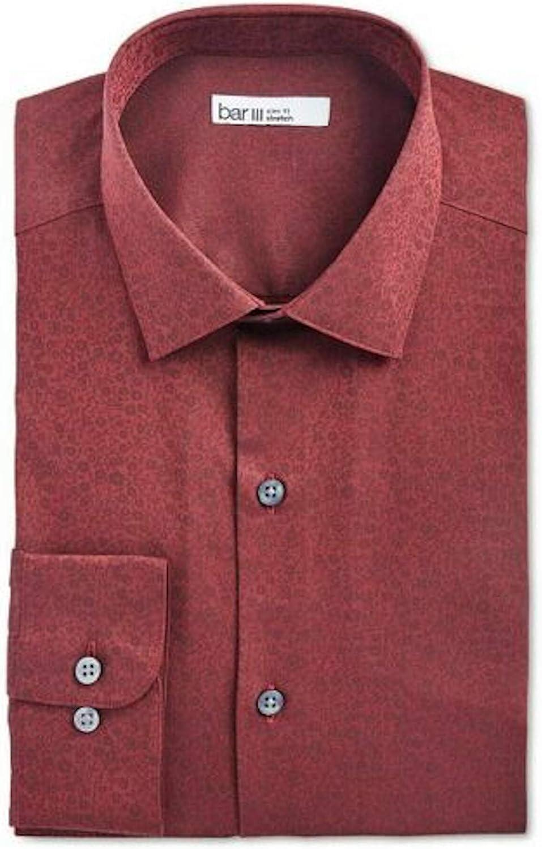 bar III Mens Burgundy Collared Slim Fit Stretch Dress Shirt S 14/14.5-32/33