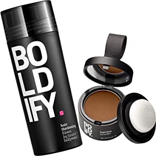 Hair Fiber + Hairline Powder Boldify Build & Conceal Bundle - Undetectable Hair Thickener for Fine Hair, Instant Stain-Pro...