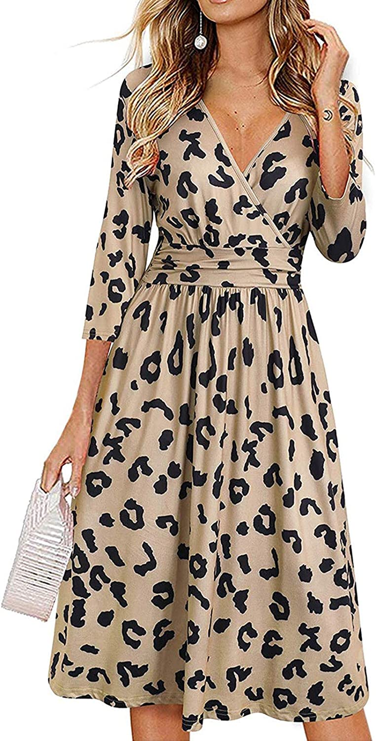 Dresses for Women Casual,Women's Classic Solid 3/4 Sleeve Work Dress Vintage Casual Party Dresses with Pockets