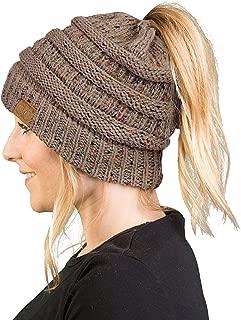 Women's Beanie Ponytail Messy Bun BeanieTail Multi Color Ribbed Hat Cap