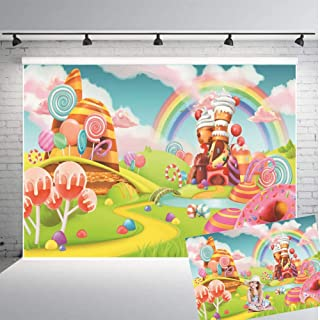 Qian Lollipop Backdrops Cartoon Candy Photo Rainbow Studio Props Booth Baby Birthday Party Photography Background Vinyl 7x5FT