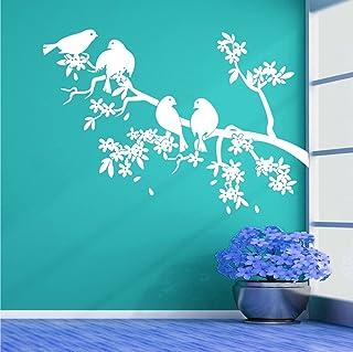 Sticker Studio Birds on Tree Wall Stickers for Living Room, Bedroom, Office (Vinyl, Standard, White)