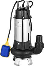 Happybuy Sewage Pump 1.5 HP Submersible Sump Pump 10038 GPH Ejector Pump 92ft Lift Stainless Steel Heavy Duty with 23ft Cable and Piggy Back Float Switch