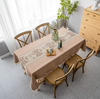 Honeystore Washable Cotton Linen Solid Embroidery Design Tablecloth, Rectangle Table Cover Great for Kitchen Dinning Tabletop Buffet Decoration(Rectangle/Oblong, 55 x 86 Inch, Khaki)