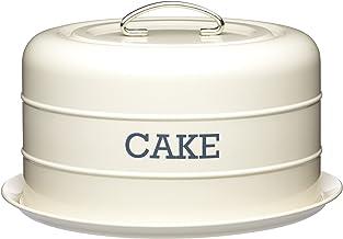 علبة كيك نوستالجيا محكم مقبب للكعك، 28.5 سم × 18 سم، باللون الكريمي، مُغلَّق