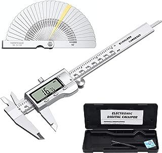 Proster Digital Vernier Caliper 6inch/150mm + 32 Feeler Gauges Dial Caliper Caliper Fraction/Inch/Metric Electronic Caliper Measuring Tool for Length Width Depth Inner Outer Diameter