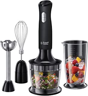 Russell Hobbs 24702 Desire 3 in 1 Hand Blender with Electric Whisk and Vegetable Chopper Attachments, Matte Black