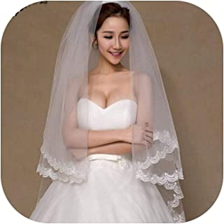 2 Tier Bridal Veil Beautiful Ivory Cathedral Short Wedding Veils Lace Edge With Comb Bride Veils A00187