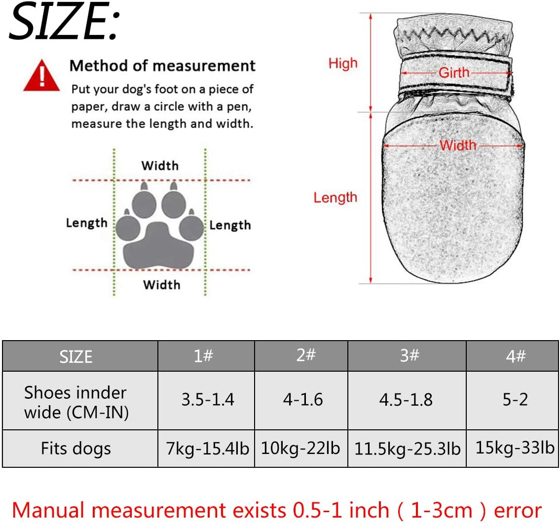 4# AODENER Puppy Dog Rain Boot for Paws Protector Waterproof Dog Rain Shoes Black Reflective Non Slip Dog Snow Boots for Small Medium Puppy Set of 4 in Net Package