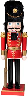 Clever Creations Red Soldier Wooden Nutcracker Wearing Red, Gold, and Black Uniform | Holding Rifle | Festive Decor | Perfect for Shelves and Tables | 100% Wood | 14